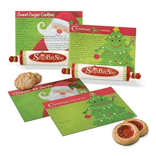 Christmas Rolling Pin Recipe Card Holder with Recipe Cards, Gift Boxed