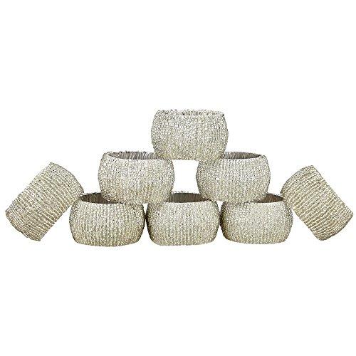 (Handmade Indian Silver Beaded Napkin Rings - Set of 8 Rings)