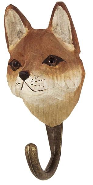 Haken Garderobenhaken Wandhaken handbemalt Holz Wildlife Garden Fuchs handgeschnitzt