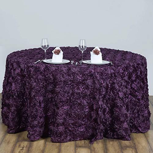 - Mikash 120 3D Satin Ribbon Rosette Round Tablecloth Designer Wedding Party Linen | Model WDDNGDCRTN - 21732 |