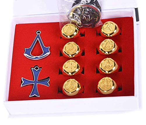 Price comparison product image AEmber - Anime Assassins Creed Unity Pin Deiss Mond Ring Pendant Decorations Brooch Collection Skeleton Gold Ring Set (Gold Ring Set)