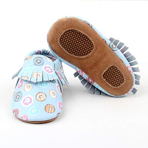 Starbie Baby Moccasins Premium Leather Shoes for Baby Toddler Girls and Boys Donuts Moccasins Light Blue