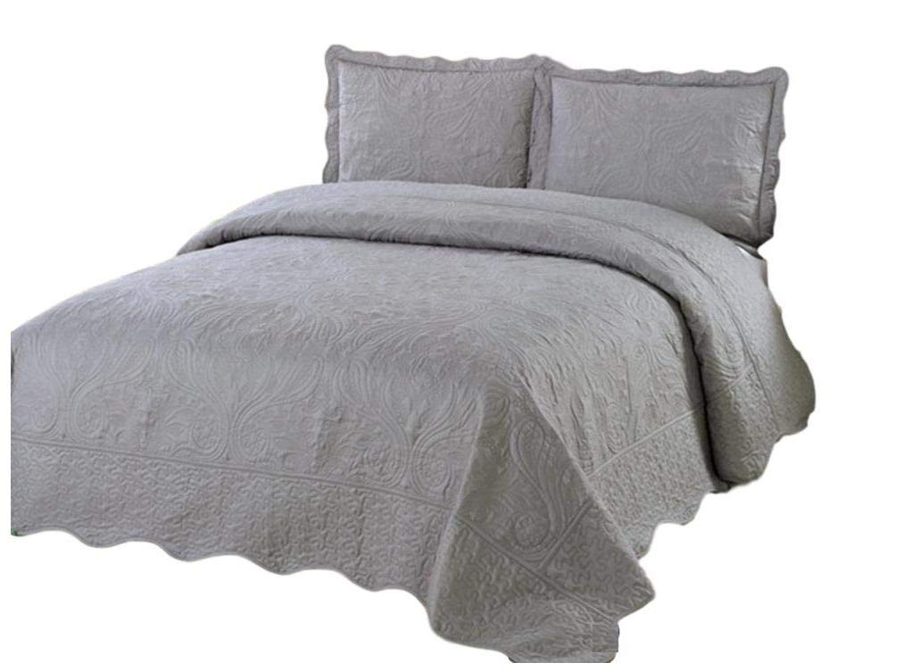 Quilt California King Size 3 pc Bedding Bed set / Bedspread Coverlet / Embroidered / 2 pillow sham 965
