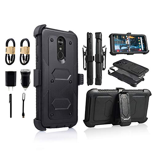 LG Stylo 4 Rugged Case, [360 Degree Protection] [Kick-Stand] Full-Body Heavy Duty Case with [Built-in-Screen Protector] [Belt Clip Holster] for LG Stylo 4 [Value Bundle] (Black) from 6goodeals