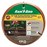 Rain Bird SSF70-50S Drip Irrigation Pressure Compensating 1/2'' (.700 OD) Sub-Surface Emitter Tubing with Copper Shield Technology, 18'' Emitter Spacing, 50' Roll, Copper