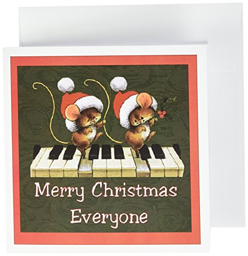 (Merry Christmas mice dancing on a keyboard  - Greeting Cards, 6 x 6 inches, set of 12 (gc_167059_2))