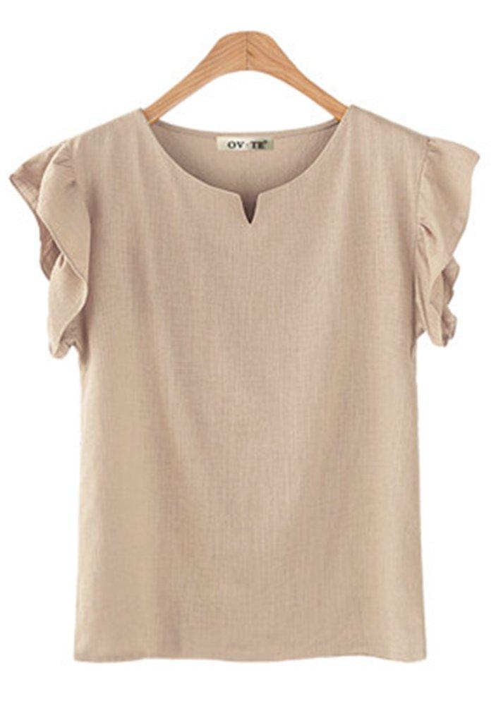 VenuStar Women's Blouse Shirts Casual Loose Blouse Plus Size Ruffle Short Sleeve Working top S-3XL (3XL, B-Beige)
