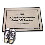 HIGH COTTON Welcome Doormat - A Fragile and Very Sensitive Badass CAT Lives Here.
