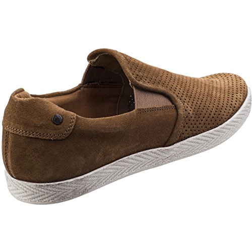 Base London Mens Clipper Suede Leather Slip On Casual Loafer Shoes Tan