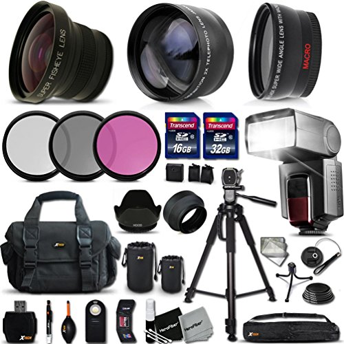 "Price comparison product image Ultimate 37 Piece Accessory Kit for Sony Alpha a7II,  a7IIK,  Alpha 7 II,  Alpha,  7,  7S,  7R,  Alpha 7,  Alpha a5100,  a6000,  a5000,  a3000,  NEX-3,  NEX-3N,  NEX-5N,  NEX-5R,  NEX-5T,  NEX-6,  NEX-7,  NEX-FSLT-A77 II,  SLT-A99,  SLT-A58,  SLT-A57,  SLT-A37,  SLT-A77,  SLT-A35,  SLT-A65,  SLT-A55,  SLT-A33 Cameras Includes: 58mm Super High Definition FishEye Lens + 58mm High Definition 2X Telephoto Lens + 58mm High Definition Wide Angle Lens + Pro Speedlight Flash + 32GB High Speed Memory Card + 16GB High Speed Memory Card + Professional Full Size 72"" Inch Tripod + Large Well Padded Case + 49mm 3 Piece Glass Filter Set (UV Filter + CPL Filter + ND Filter) + 49mm Hard Lens Hood + 49mm Soft Rubber Lens Hood + 49mm Lens Cap + Lens Cap Holder + Universal Camera Remote Control + 2 Lens Pouches + Universal Card Reader + Flexible Mini Table Tripod + Memory Card Case Holder + Screen Protectors + Mini Blower + Cleaning Pen + Deluxe Cleaning Kit + Ultra Fine HeroFiber Cleaning Cloth"