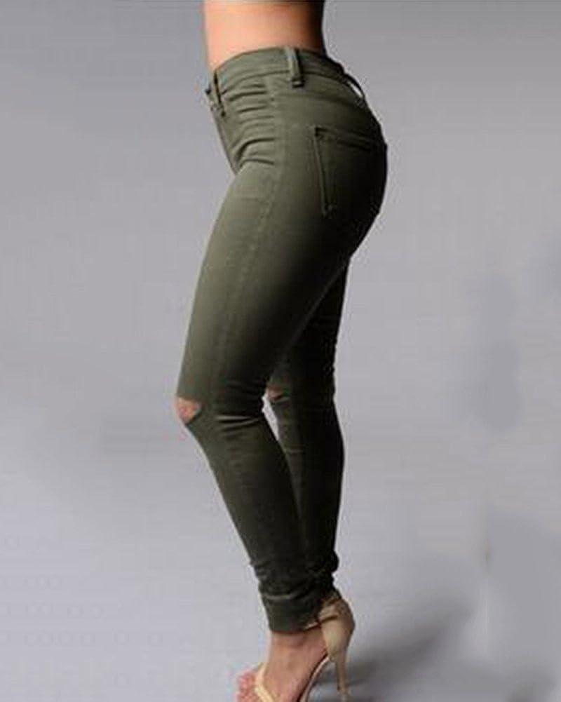 Mujer Cintura Alta Pantalones Rotos En La Rodilla Jeans Mujer Elastico Skinny Vaqueros Leggings Ropa Lekabobgrill Com