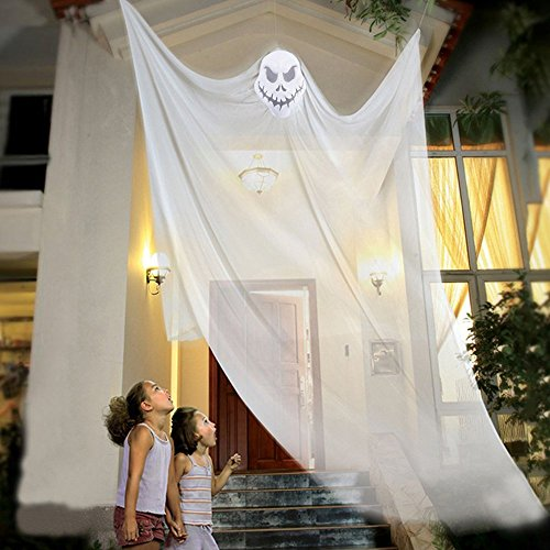Flying Ghost Prop (7 Feet Halloween Props Scary Halloween Hanging Ghost Prop Halloween Hanging Skeleton Flying Ghost Halloween Hanging Decorations for Yard Outdoor Indoor Party Bar for Halloween Decoration (White))