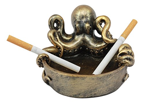"Ebros Sea Monster Kraken Giant Octopus Ashtray Figurine 5.5""Wide Nautical Ocean Terror Myth Decorative Statue For Cigarettes Coins Knick Knacks"