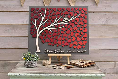 3D Wedding Guest Book Alternative Tree Wood Custom Unique Guestbook Hearts Burgundy Autumn Wedding Rustic Guestbook Wooden Tree of Life Gift]()