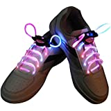 AGPtEK Multi-Color LED Light Up Waterproof Shoelaces, 3 Modes (On, Strobe & Flashing) 2 Feet Long, Battery Powered, One Pair