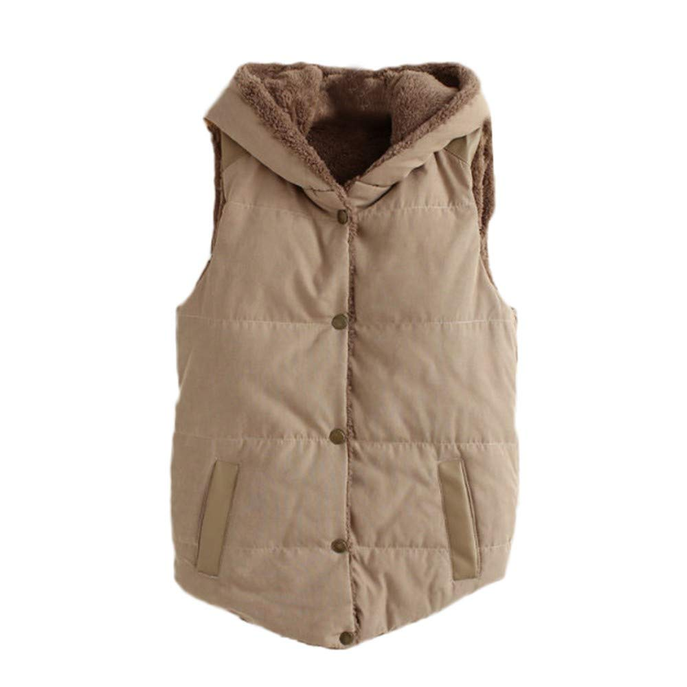 Cywulin Women's Hooded Sleeveless Vest Coat Waistcoat Jacket Button Down Parka Cardigan Blazer Sweaters Winter Warm Outwear