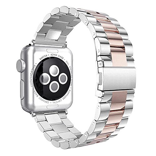 Stainless Sport Band Compatible with Apple Watch, Premium Steel Bracelet Strap Replacement Band Folding Clasp for iWatch Series 1 Series 2 Series 3 Series 4 (38MM/40MM 3PT Silver Rose Gold)