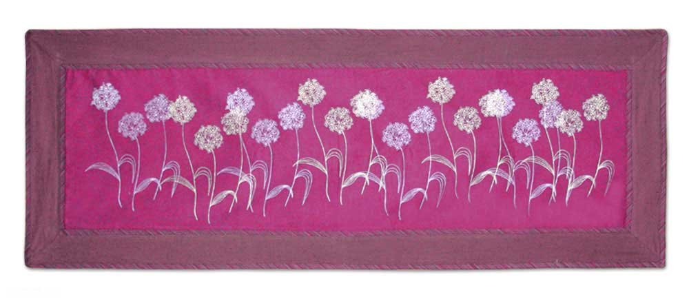 NOVICA Floral Cotton Table Runner, Purple, 'Purple Dandelions' by NOVICA