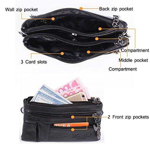 Wallet Katloo Body Bag Mini Purse 2 Handbag Bag Clutch Cross for Straps with Faux Girls Shoulder Bag Leather Phone Wristlet Small Black Ladies Women rxwqr46C