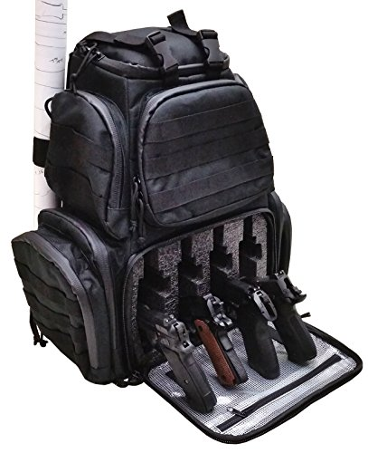 Case Club Tactical 4-Pistol Backpack with Rainfly & Molle Straps, (GEN 2) (Four Pistol Case)