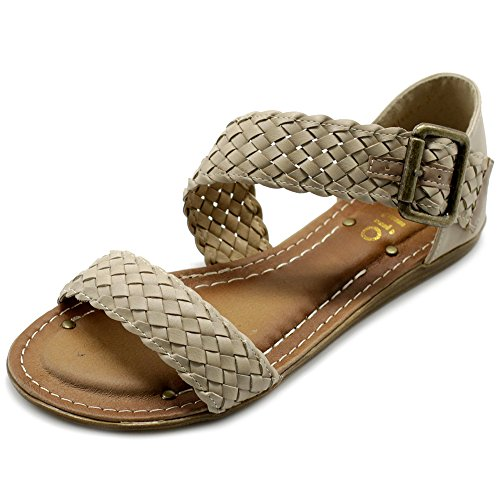 Braided Accent - Ollio Womens Shoe Braided Side Buckle Accent Multi Color Flat Sandal M1966(9 B(M) US, Beige)