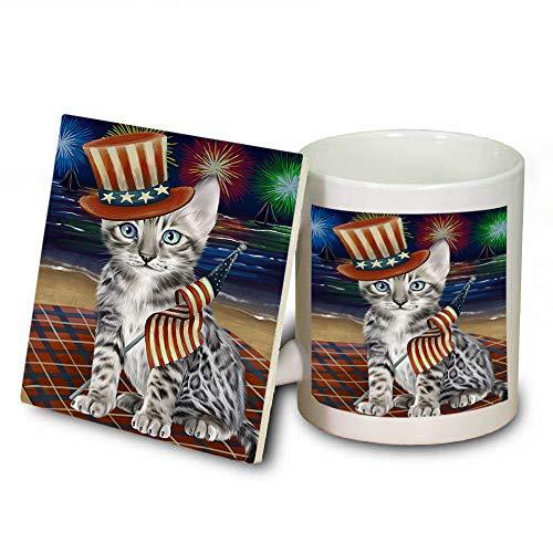 4th of July Independence Day Firework Bengal Cat Mug and Coaster Set MUC52396 (Independence Dishwasher Safe Coasters)
