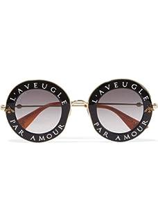 e803d03fb9 Amazon.com: Gucci GG0102S 001 Black/Grey GG0102S Square Sunglasses ...