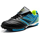 Tiebao Men's Hard Ground IC Athletic Soccer Pu Leather Football Shoes 15107(Black&Blue,us8.5)