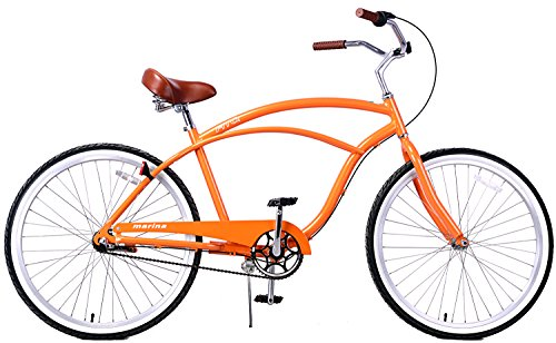 Where to Shop Fito Men's Marina Aluminum Alloy 3-Speed Beach Cruiser Bike, Orange, 18″ x 26″/One Size