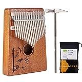 Kalimba Mbira Sanza 17 Keys Thumb Piano Portable Pocket Size Beginners Friendly Solid Finger Piano Mahogany Body Ore Metal Tines with Cruved Hummingbirds