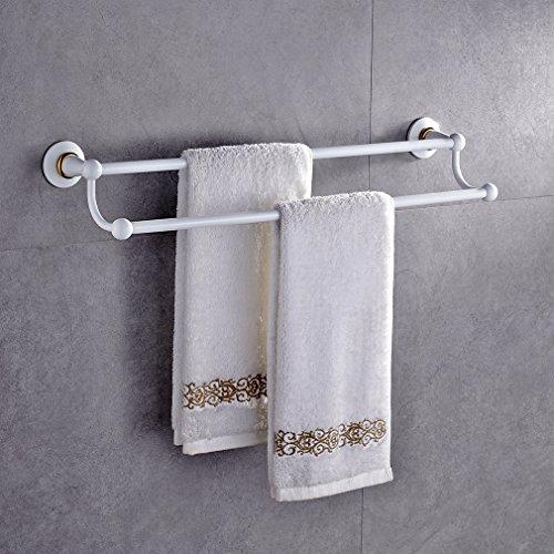 Auralum Wand-Handtuchhalter Weiss Handtuchstange Badetuchhalter aus Edelstahl für Bad Wandhandtuchhalter Türhandtuchhalter 2 Stange Wandmontage