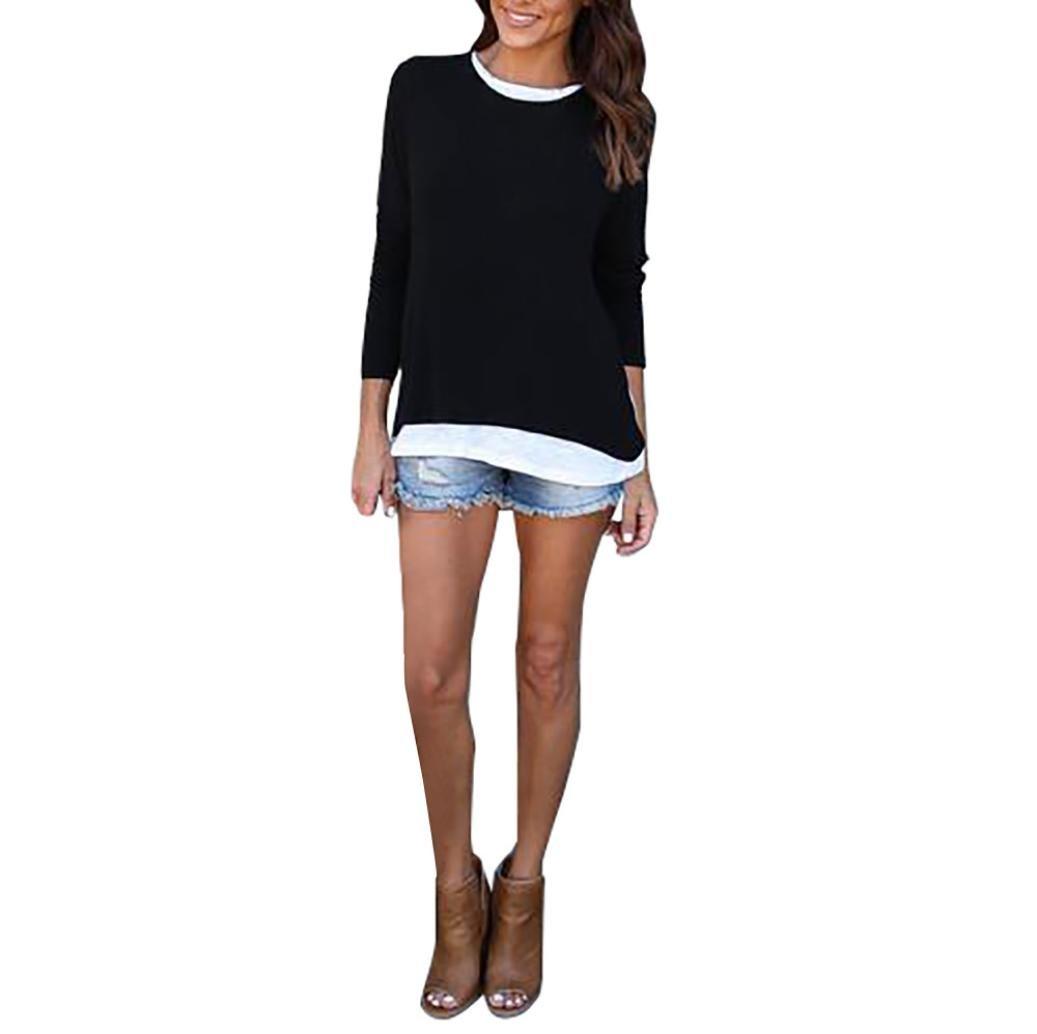 Womens Fashion Sweatshirt, Gotd Solid Long Sleeve Spliced Casual Sweatshirt Tops (L, Black)