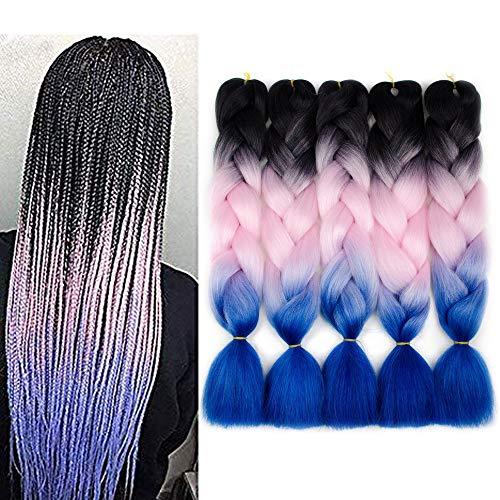 - Three Tone Ombre Jumbo Braid Hair Extension 5Pcs/Lot 100g/pc Kanekalon Fiber for Twist Braiding Hair 24inch(Black-pink-blue)