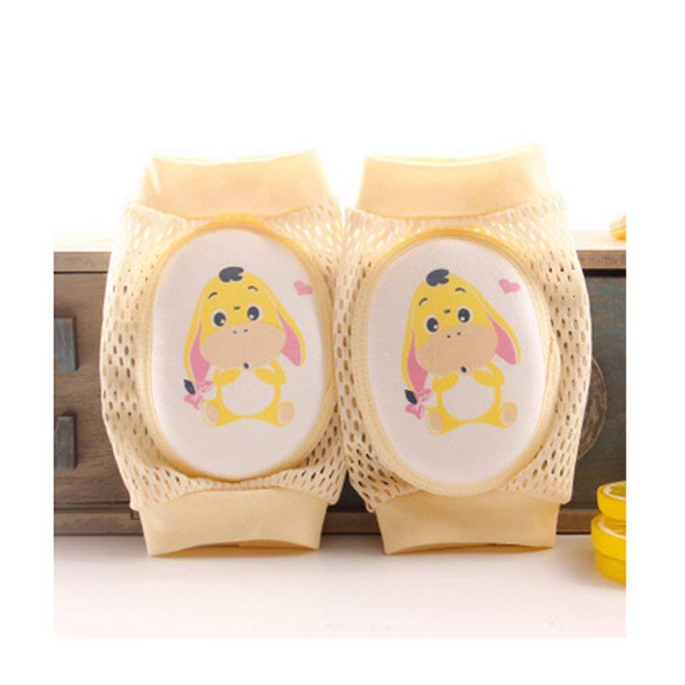 Codera para beb/és con esponja de malla transpirable para dibujos animados dise/ño de donkey color amarillo codo y rodilla Hemore Baby Products 1 par