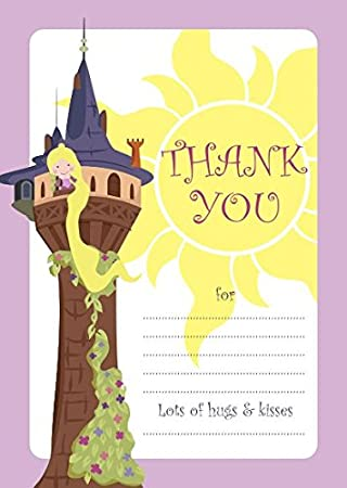10 tarjetas de agradecimiento para niños con diseño de Rapunzel ...