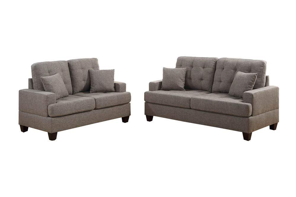 CDM product Benzara BM168665 Polyfiber Sofa with Loveseat & Cushionss, Brown, Light big image