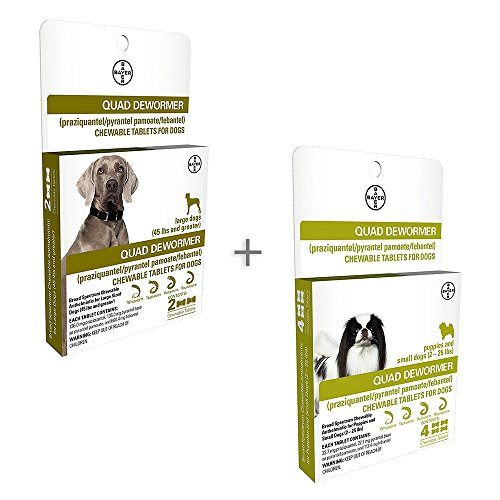 Bundle Bayer Quad Chewable Dewormer for Large Dogs, 45 lb and Over, 2 doses, 136 mg Each & Small Dogs and Puppies, 2-25 lb, 4 doses, 22.7 mg Each - Single Pack Each