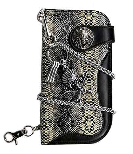 ABC STORY Mens Leather Concho Snake Pattern Indian Chief Long Trucker Biker Chain Wallet Black