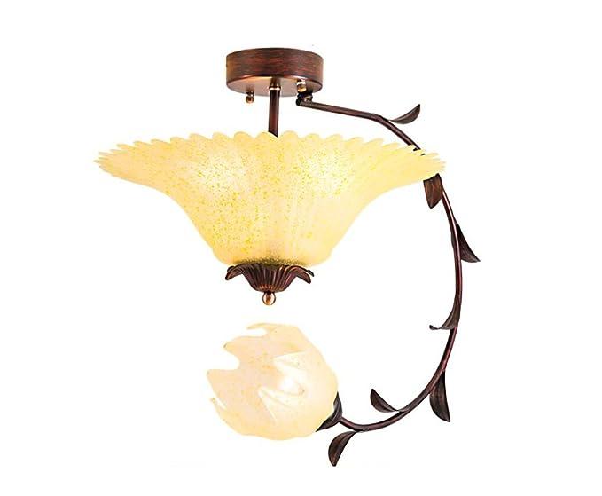 Plafoniera Fiori Vetro : Home mall lampada da soffitto in ferro e vetro a forma di fiore