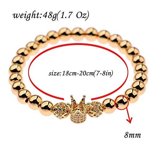 ALISETHEL Copper Bracelet for Men Oiquei 2pcs/Set Couple Bracelets for Women Men 2019 Gold 8mm Copper Bead&cz Crown Beaded Charm Bnagles Bracelet Luxury Jewelry by ALISETHEL (Image #5)