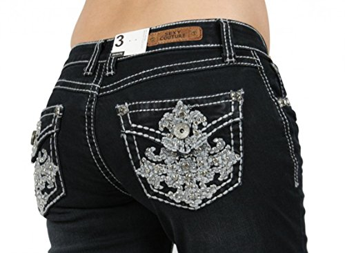 Couture Embellished (SEXY COUTURE Women's 449-PB Cross Dark Wash Denim Cross Boot Cut Jeans 3-17 - Waist 13)