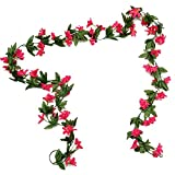 Mynse 2 Pieces Artificial Flower Vines for Home Living Room Garden Fence Decoration Artificial Mini Lily Vine Red