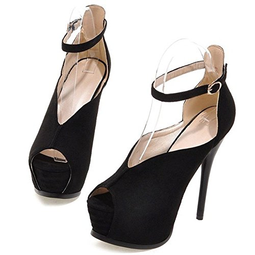 LongFengMa Buckle Black Stiletto Toe Shoes Peep Sandals Ladies Sexy Ff1qrxwF