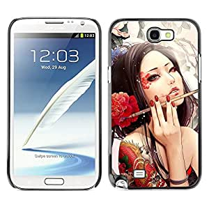 Impact Case Cover with Art Pattern Designs FOR Samsung Note 2 N7100 Sexy Japanese Geisha Girl Tattoo Betty shop