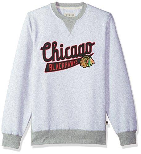 adidas NHL Chicago Blackhawks CCM Finished Crew Fleece, Light Grey Heathered, Large