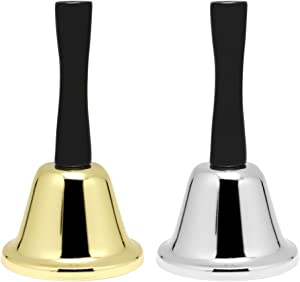 Hysagtek 2 Pcs Metal Tea Hand Bell Loud Call Service Bell Tone Handbell for Wedding Events, Decoration, Food Line, Alarm, Jingles, Ringing, Gold and Silver