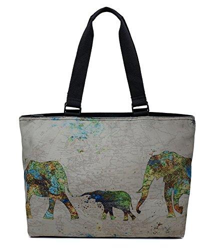 Printed Canvas Spacious Large Travel Shoulder Tote Bag Handb
