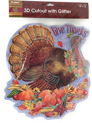 Give Thanks Harvest - Flomo Fall Harvest Thanksgiving 3D Cutout with Glitter (Give Thanks Turkey)