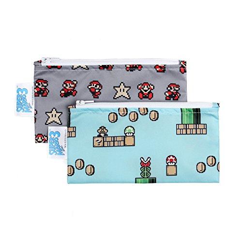 Bumkins Nintendo Super Mario Snack Bags, Reusable, Washable, Food Safe, BPA Free, 2-Pack - 8-Bit Game / Pixel