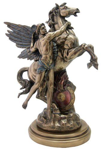 Greek Perseus & Pegasus Sculpture - H: 16.5 Inch - Amazing Replica